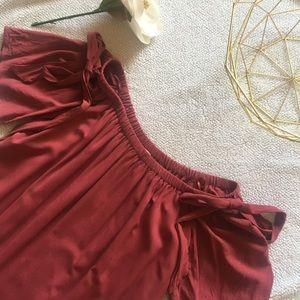 LOFT Off-shoulder Dress w/ Embroidered Hem